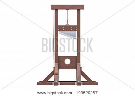 Guillotine closeup 3D rendering isolated on white background
