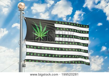 Legalization of cannabis in US concept. USA flag with marijuana leafs 3D rendering