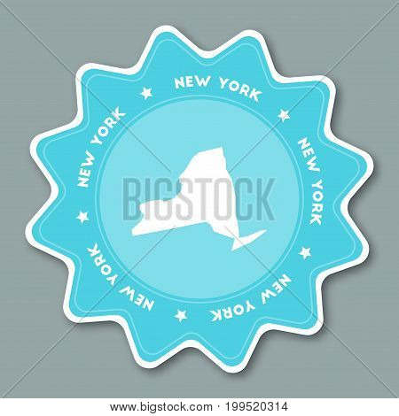 New York Map Sticker In Trendy Colors. Travel Sticker With Us State Name And Map. Can Be Used As Log