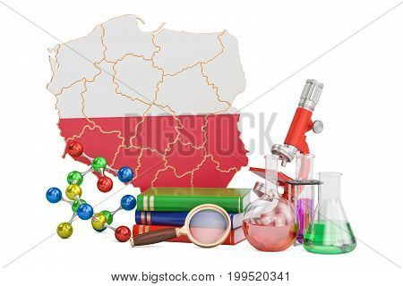 Scientific research in Poland concept 3D rendering isolated on white background