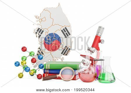 Scientific research in South Korea concept 3D rendering isolated on white background