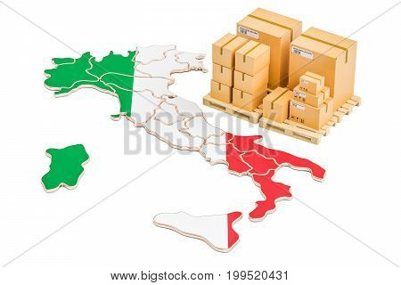 Shipping and Delivery from Italy isolated on white background