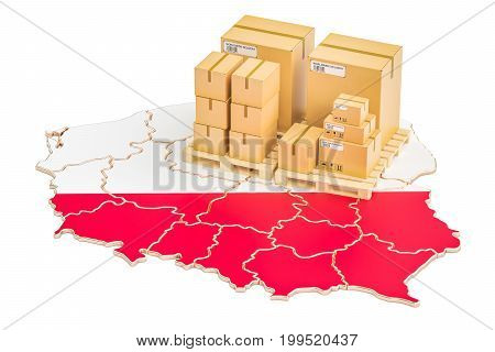 Shipping and Delivery from Poland isolated on white background