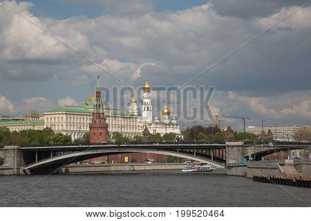 Historical district wide shot Moscow Kremlin river Russia May 2017