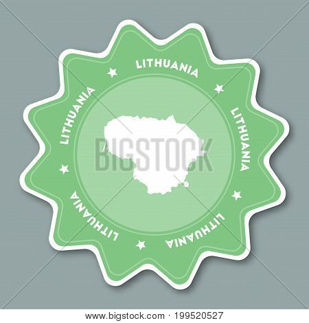 Lithuania Map Sticker In Trendy Colors. Star Shaped Travel Sticker With Country Name And Map. Can Be