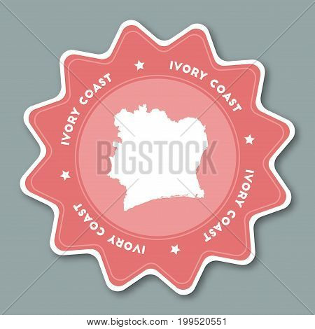 Cote D'ivoire Map Sticker In Trendy Colors. Star Shaped Travel Sticker With Country Name And Map. Ca