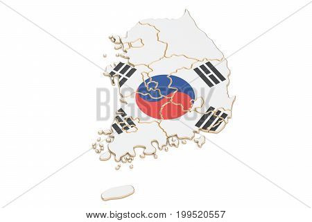 South Korea map closeup 3D rendering isolated on white background