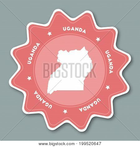 Uganda Map Sticker In Trendy Colors. Star Shaped Travel Sticker With Country Name And Map. Can Be Us