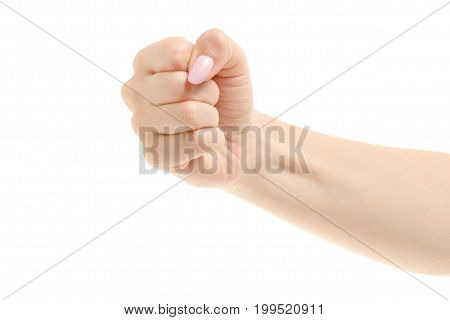 Female hand gestures emotions on a white background isolation fist