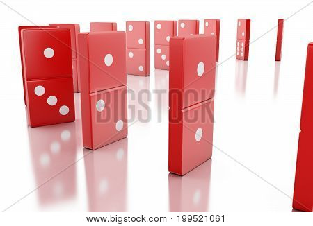 3D Red Domino Tiles Falling In A Row