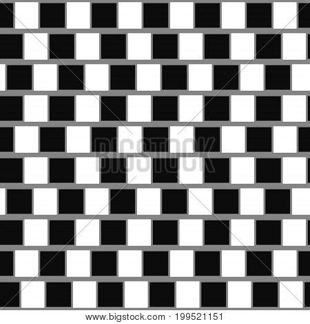 Cafe wall optical illusion. Seamless geometric background. Vector illustration.