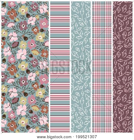 Seamless floral pattern with coordinating, stripe, plaid and stem print.