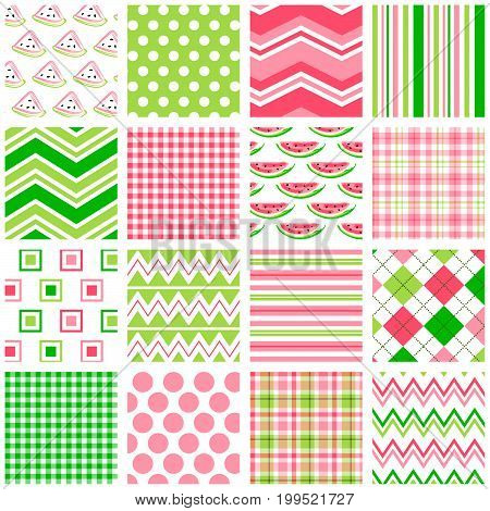 Set of 16 seamless coordinating patterns in pink and green. File includes: watermelon prints, polka dots, chevrons, stripes, gingham/plaid, argyle and more.