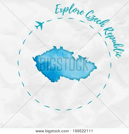 Czech Republic Watercolor Map In Turquoise Colors. Explore Czech Republic Poster With Airplane Trace