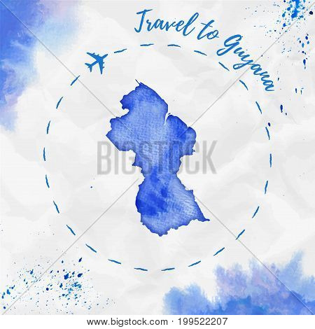 Guyana Watercolor Map In Blue Colors. Travel To Guyana Poster With Airplane Trace And Handpainted Wa