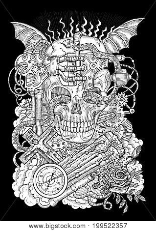 White mystic illustration with scary skull, steampunk and gothic symbols as rose, demon wings, cross, cogs and wheels on texture background. Occult and esoteric drawing, gothic and wicca concept
