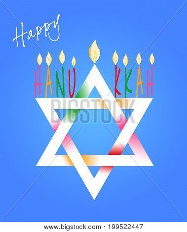 Vector Illustration card with traditional objects - Star of David and Menorah or hanukkiya for the Jewish holiday of Hanukkah