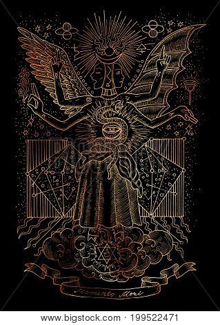 Mystic illustration of spiritual symbols, goddess of wisdom on black background. Occult and esoteric drawing, gothic and wicca concept. Latin text Momento Mori means Remember that you have to die