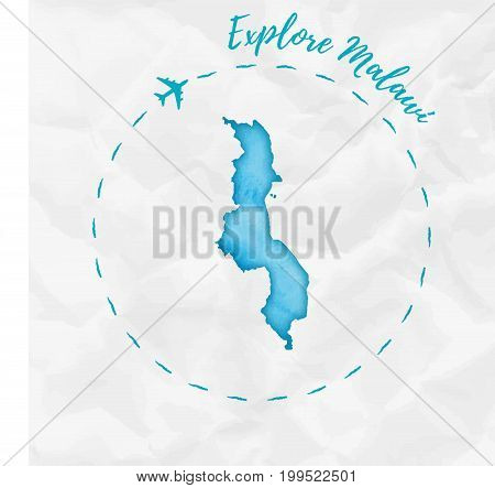 Malawi Watercolor Map In Turquoise Colors. Explore Malawi Poster With Airplane Trace And Handpainted