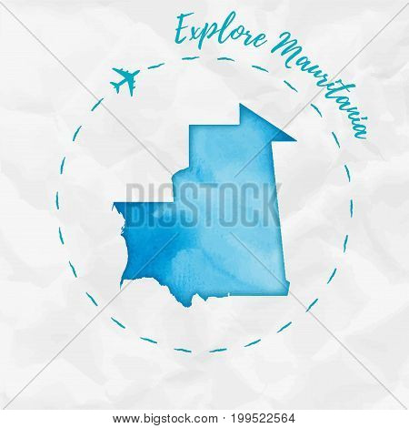 Mauritania Watercolor Map In Turquoise Colors. Explore Mauritania Poster With Airplane Trace And Han