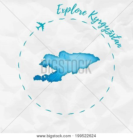 Kyrgyzstan Watercolor Map In Turquoise Colors. Explore Kyrgyzstan Poster With Airplane Trace And Han
