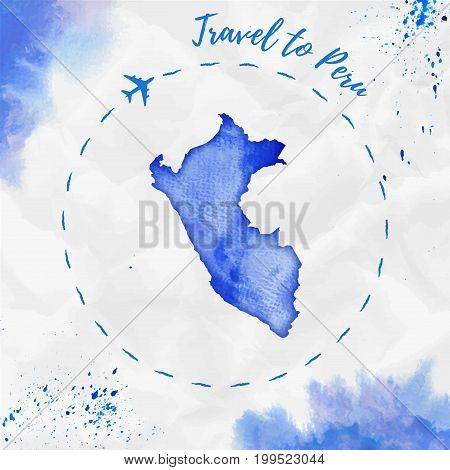 Peru Watercolor Map In Blue Colors. Travel To Peru Poster With Airplane Trace And Handpainted Waterc