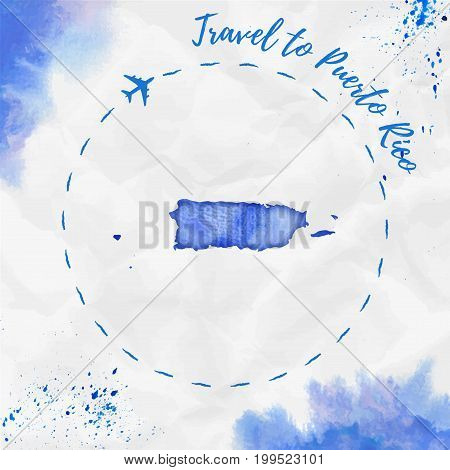 Puerto Rico Watercolor Map In Blue Colors. Travel To Puerto Rico Poster With Airplane Trace And Hand
