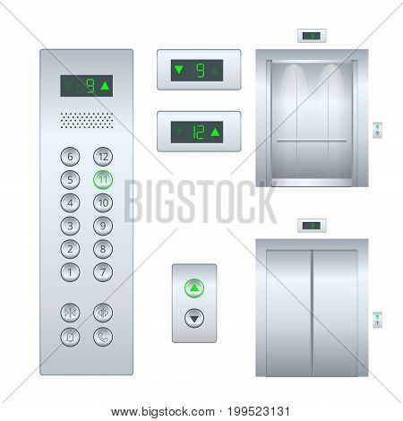 Isolated flat illustration Open and closed chrome metal office building elevator doors realistic hall interior and button panel. Flat Elevator design set.