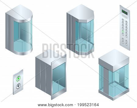 Isometric vector Glass futuristic cylindrical shape elevator or lift isometric interior with contemporary style lift hall