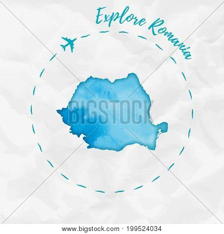 Romania Watercolor Map In Turquoise Colors. Explore Romania Poster With Airplane Trace And Handpaint