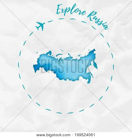Russia Watercolor Map In Turquoise Colors. Explore Russia Poster With Airplane Trace And Handpainted