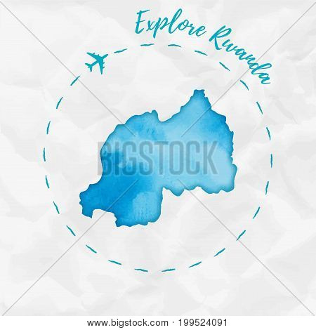 Rwanda Watercolor Map In Turquoise Colors. Explore Rwanda Poster With Airplane Trace And Handpainted