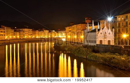 Church Santa Maria De La Spina And Arno River At Night, Pisa, Tuscany, Italy