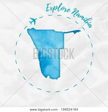 Namibia Watercolor Map In Turquoise Colors. Explore Namibia Poster With Airplane Trace And Handpaint