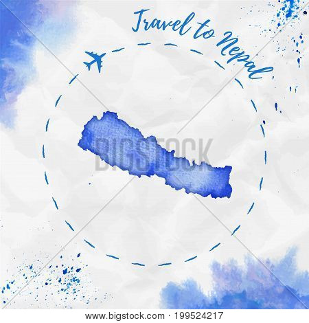 Nepal Watercolor Map In Blue Colors. Travel To Nepal Poster With Airplane Trace And Handpainted Wate