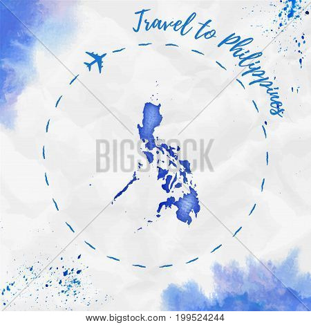 Philippines Watercolor Map In Blue Colors. Travel To Philippines Poster With Airplane Trace And Hand