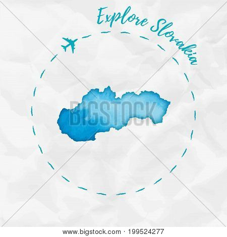 Slovakia Watercolor Map In Turquoise Colors. Explore Slovakia Poster With Airplane Trace And Handpai