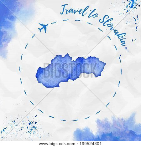 Slovakia Watercolor Map In Blue Colors. Travel To Slovakia Poster With Airplane Trace And Handpainte