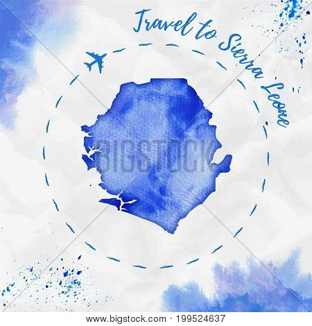 Sierra Leone Watercolor Map In Blue Colors. Travel To Sierra Leone Poster With Airplane Trace And Ha