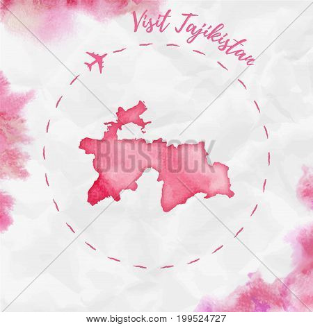 Tajikistan Watercolor Map In Red Colors. Visit Tajikistan Poster With Airplane Trace And Handpainted