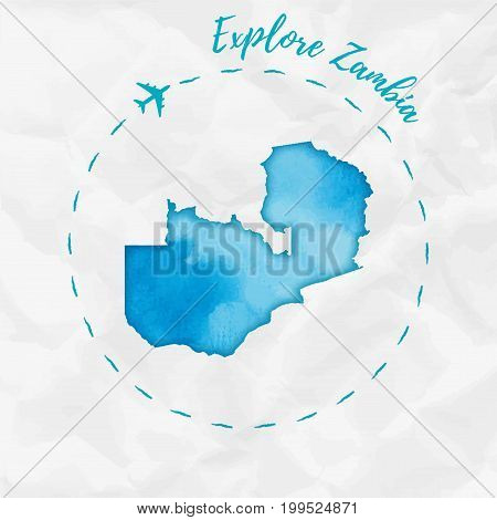 Zambia Watercolor Map In Turquoise Colors. Explore Zambia Poster With Airplane Trace And Handpainted
