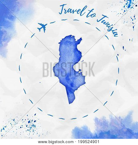 Tunisia Watercolor Map In Blue Colors. Travel To Tunisia Poster With Airplane Trace And Handpainted