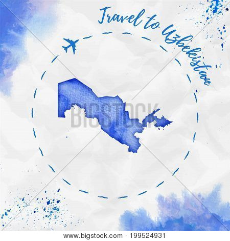Uzbekistan Watercolor Map In Blue Colors. Travel To Uzbekistan Poster With Airplane Trace And Handpa