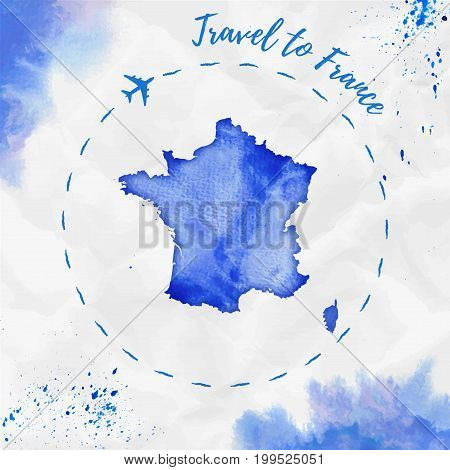 France Watercolor Map In Blue Colors. Travel To France Poster With Airplane Trace And Handpainted Wa