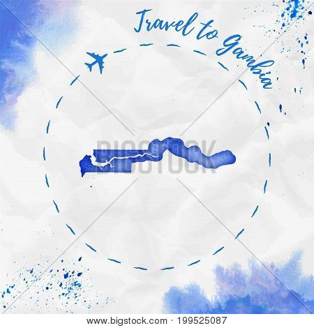 Gambia Watercolor Map In Blue Colors. Travel To Gambia Poster With Airplane Trace And Handpainted Wa
