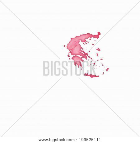 Greece Watercolor Map In Red Colors. Visit Greece Poster With Airplane Trace And Handpainted Waterco