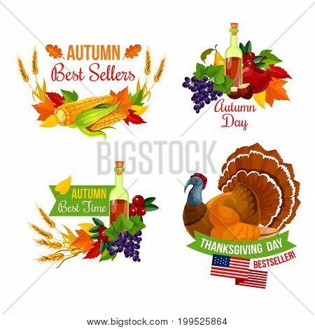 Thanksgiving Day sale icon set of autumn season holiday. Fall leaf with autumn harvest corn vegetable, apple, grape and pear fruit, wheat and turkey bird with ribbon banner for emblem and card design