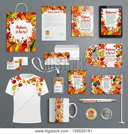 Corporate identity set with autumn season brand symbol. Fall leaf, harvest vegetable and fruit branding template of business card, letterhead, envelope, folder, document layout and branded stationery