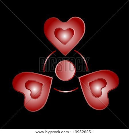 Red spinner icon with hearts. Isolated on background. Vector.