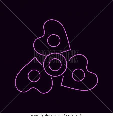 Spinner pink line icon with hearts. Isolated on background. Vector.